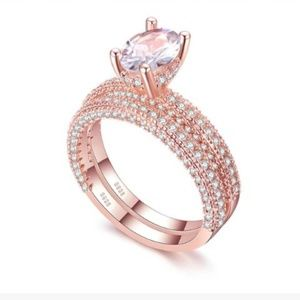 White Sapphire and rose gold plated wedding set